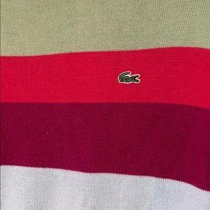 Lacoste rainbow color block cotton sweater, Medium